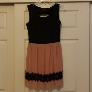 Pink Tule with lace trim, knee-high dress
